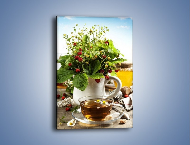 Obraz na płótnie – Herbata z poziomką – jednoczęściowy prostokątny pionowy JN574