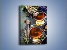 Obraz na płótnie – Herbatki ze słodkimi poziomkami – jednoczęściowy prostokątny pionowy JN603