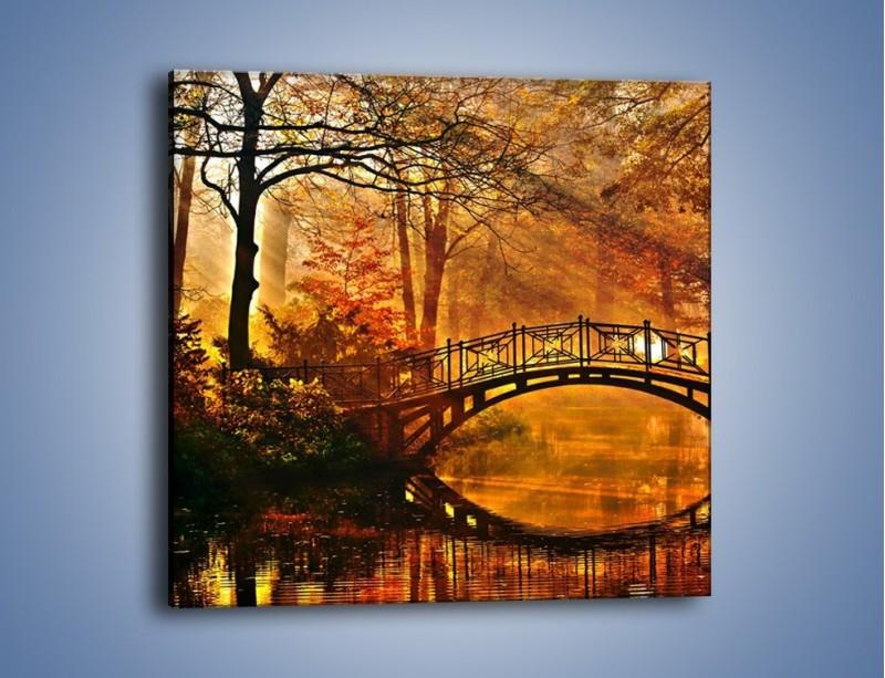 Obraz na płótnie – Cudowny spacer jesienną porą – jednoczęściowy kwadratowy KN1319A
