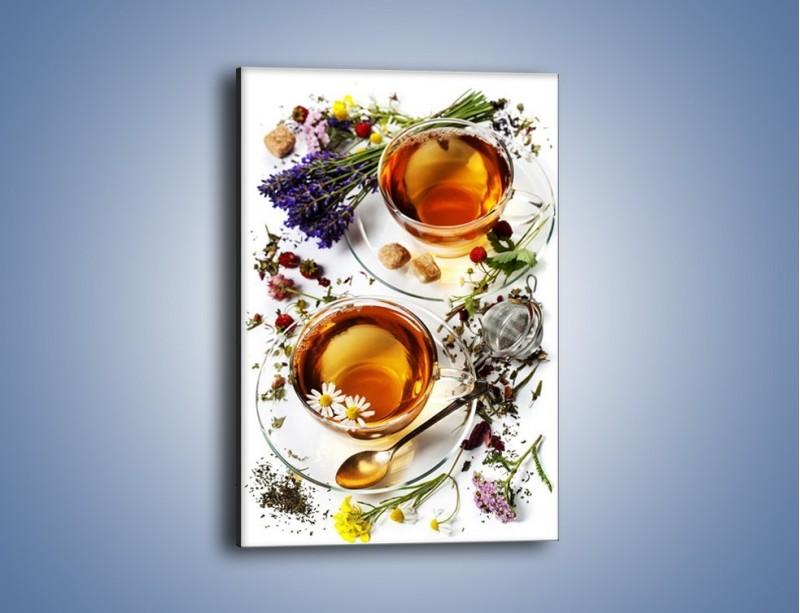 Obraz na płótnie – Herbata wśród kolorowych kwiatów – jednoczęściowy prostokątny pionowy JN629