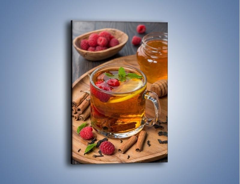 Obraz na płótnie – Herbata ze słodką maliną – jednoczęściowy prostokątny pionowy JN658