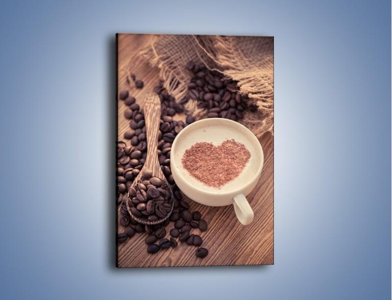 Obraz na płótnie – Idealne serce na kawie – jednoczęściowy prostokątny pionowy JN689