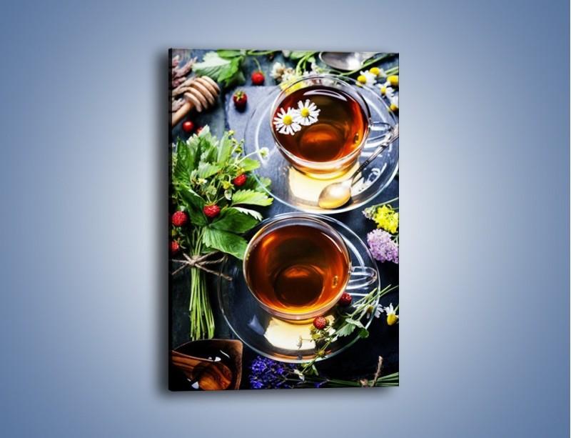 Obraz na płótnie – Herbata otoczona kwiatami – jednoczęściowy prostokątny pionowy JN732