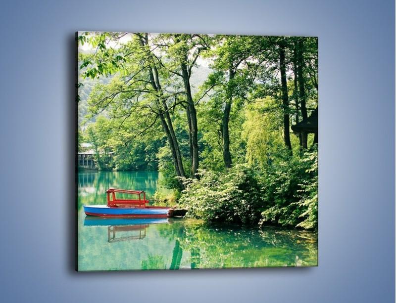 Obraz na płótnie – Wakacje nad jeziorem – jednoczęściowy kwadratowy KN155