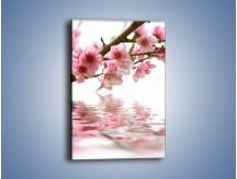 Obraz na płótnie – Gałązka z kwiatami pochylona nad wodą – jednoczęściowy prostokątny pionowy K193