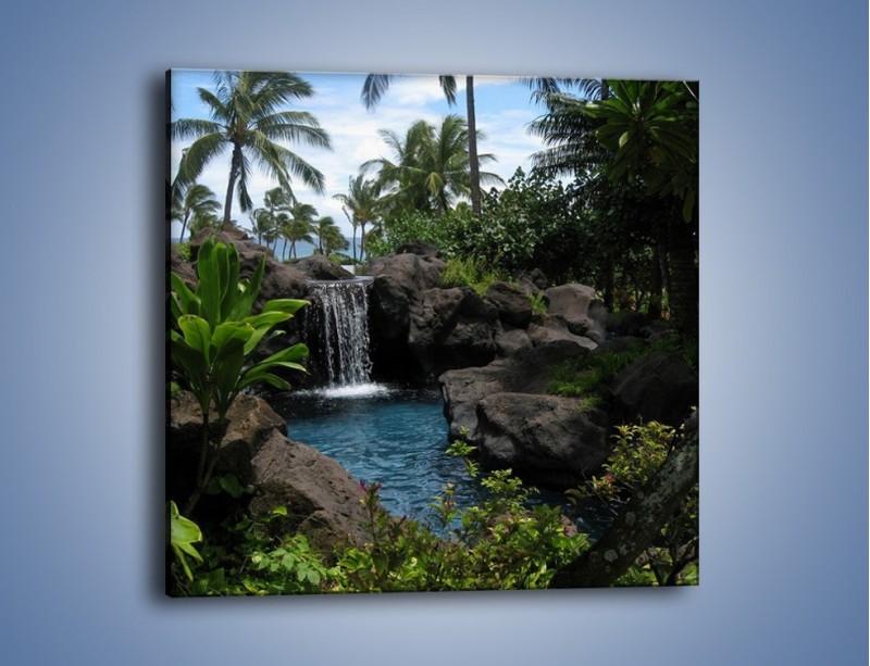 Obraz na płótnie – Wodospad wśród palm – jednoczęściowy kwadratowy KN208