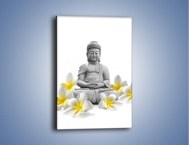 Obraz na płótnie – Budda w białych kwiatach – jednoczęściowy prostokątny pionowy K599