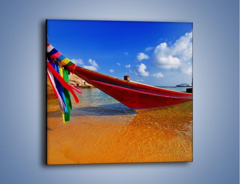 Obraz na płótnie – Kolorowa łódź na brzegu – jednoczęściowy kwadratowy KN415