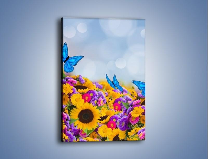 Obraz na płótnie – Bajka o kwiatach i motylach – jednoczęściowy prostokątny pionowy K794