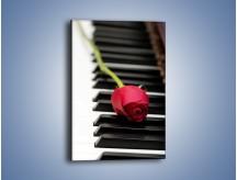 Obraz na płótnie – Czerwony kwiat i pianino – jednoczęściowy prostokątny pionowy K909