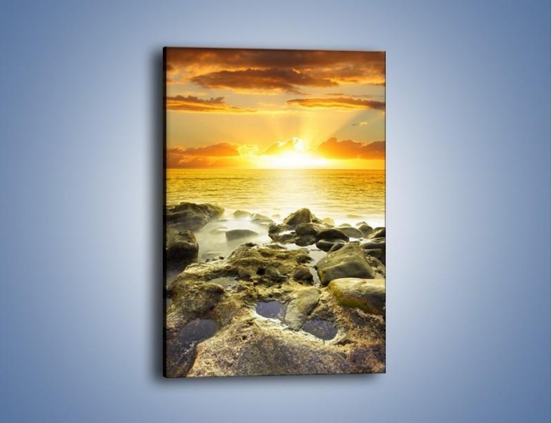 Obraz na płótnie – Morze o zachodzie słońca – jednoczęściowy prostokątny pionowy KN1139A