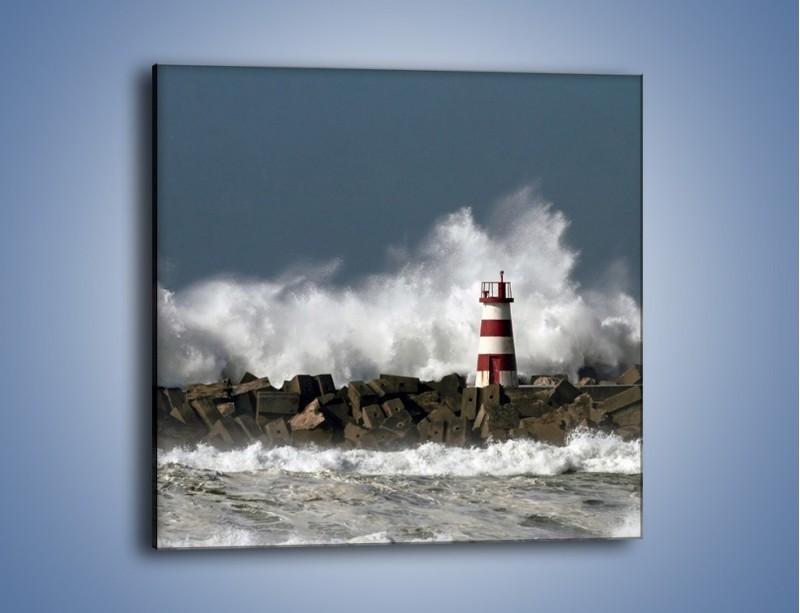Obraz na płótnie – Latarnia morska w sztormie – jednoczęściowy kwadratowy KN626