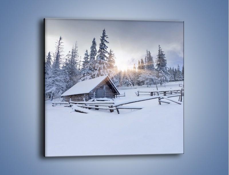 Obraz na płótnie – Chatka zatopiona w śniegu – jednoczęściowy kwadratowy KN696