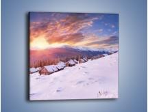 Obraz na płótnie – Chatka w śnieżnym dywanie – jednoczęściowy kwadratowy KN725