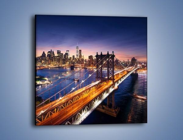 Obraz na płótnie – Zachodzące słońce nad Manhattanem – jednoczęściowy kwadratowy AM377