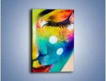 Obraz na płótnie – Kolory tęczy na twarzy – jednoczęściowy prostokątny pionowy L309
