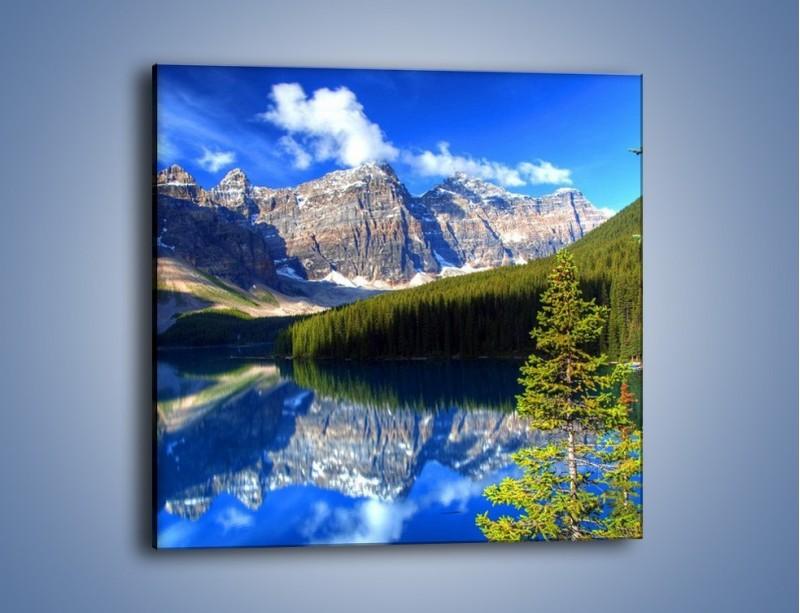Obraz na płótnie – Góry i ich wodne odbicie – jednoczęściowy kwadratowy KN839