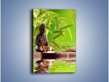 Obraz na płótnie – Medytujący budda nad wodą – jednoczęściowy prostokątny pionowy O022
