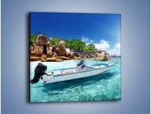 Obraz na płótnie – Błękit w wodzie i niebie – jednoczęściowy kwadratowy KN852