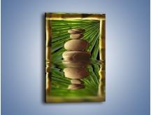 Obraz na płótnie – Kamień w bambusowym okienku – jednoczęściowy prostokątny pionowy O068