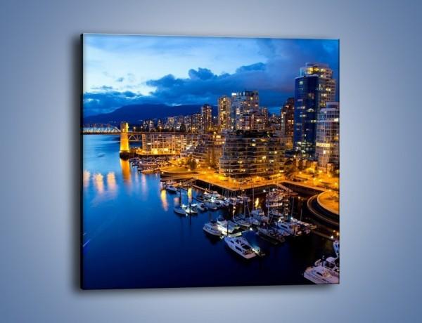 Obraz na płótnie – Zapadająca noc nad Vancouver – jednoczęściowy kwadratowy AM384