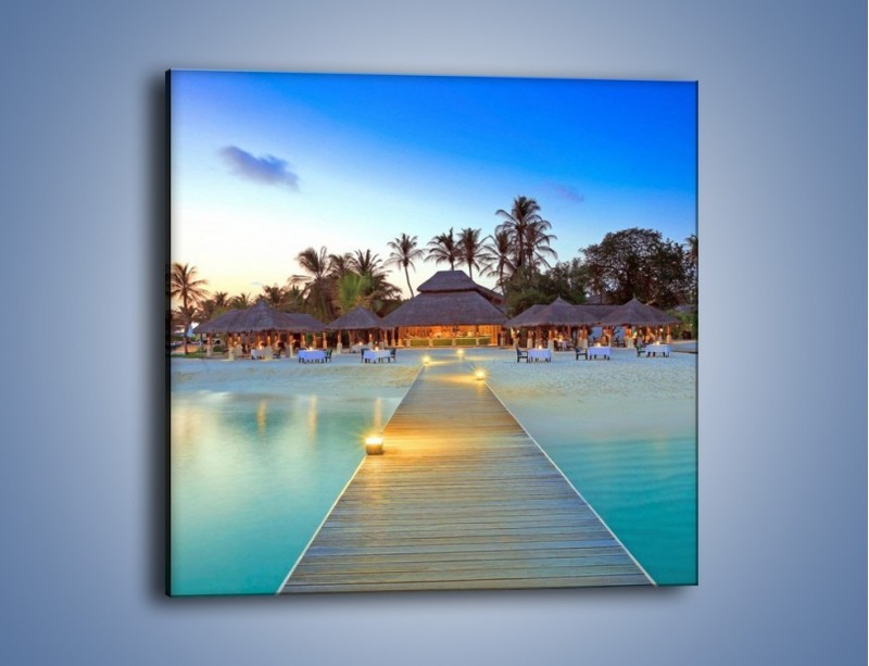 Obraz na płótnie – Romantyczna kolacja nad brzegiem morza – jednoczęściowy kwadratowy KN869