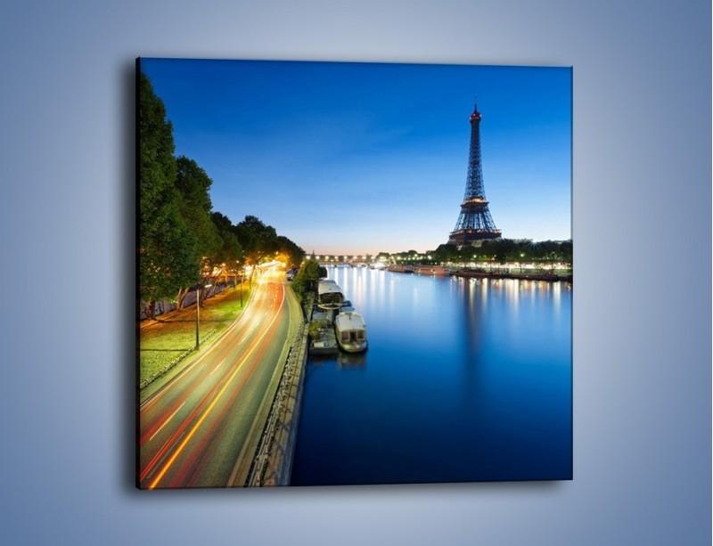 Obraz na płótnie – Zapadający zmrok w Paryżu – jednoczęściowy kwadratowy AM385