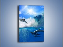 Obraz na płótnie – Z delfinami przez falę – jednoczęściowy prostokątny pionowy Z073