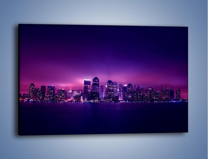 Obraz na płótnie – Wieżowce w odcieniach fioletu – jednoczęściowy prostokątny poziomy AM008