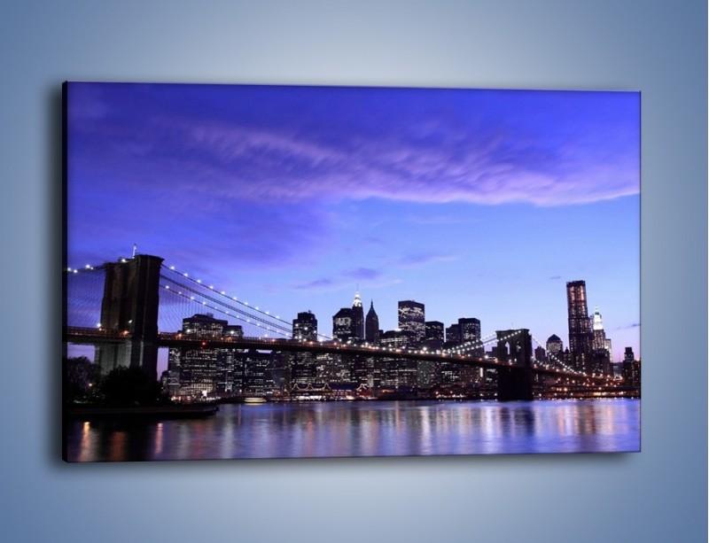 Obraz na płótnie – Most Brookliński przed zmierzchem – jednoczęściowy prostokątny poziomy AM016