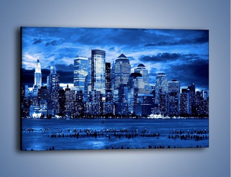 Obraz na płótnie – Wieżowce w odcieniach niebieskiego – jednoczęściowy prostokątny poziomy AM017
