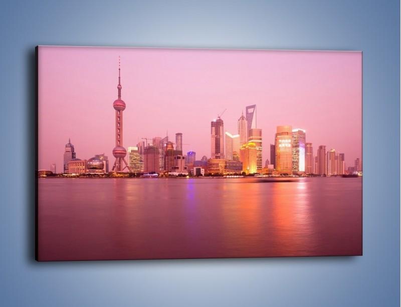 Obraz na płótnie – Miasto o poranku w odcieniach różu – jednoczęściowy prostokątny poziomy AM020