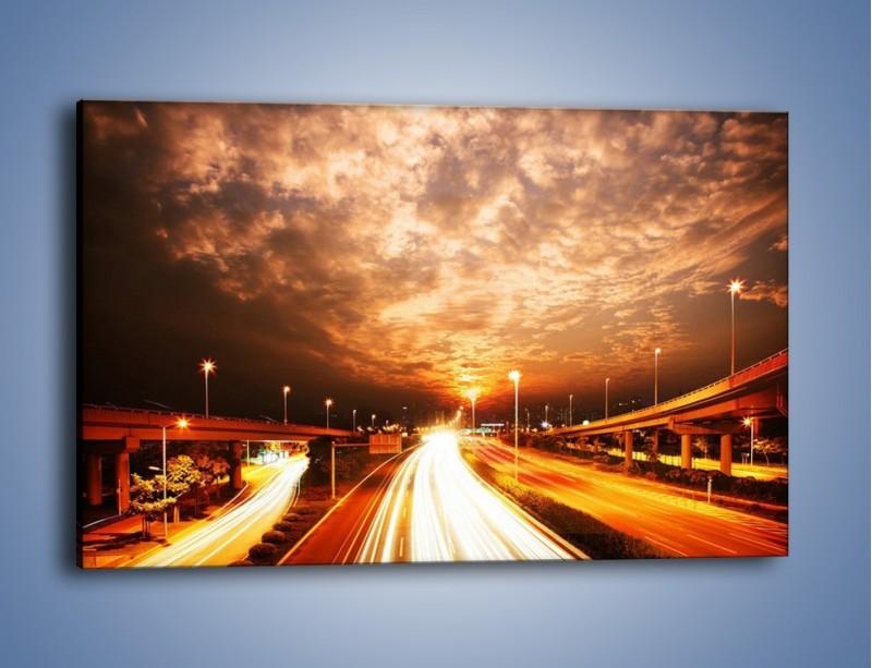 Obraz na płótnie – Oświetlona autostrada w ruchu – jednoczęściowy prostokątny poziomy AM021