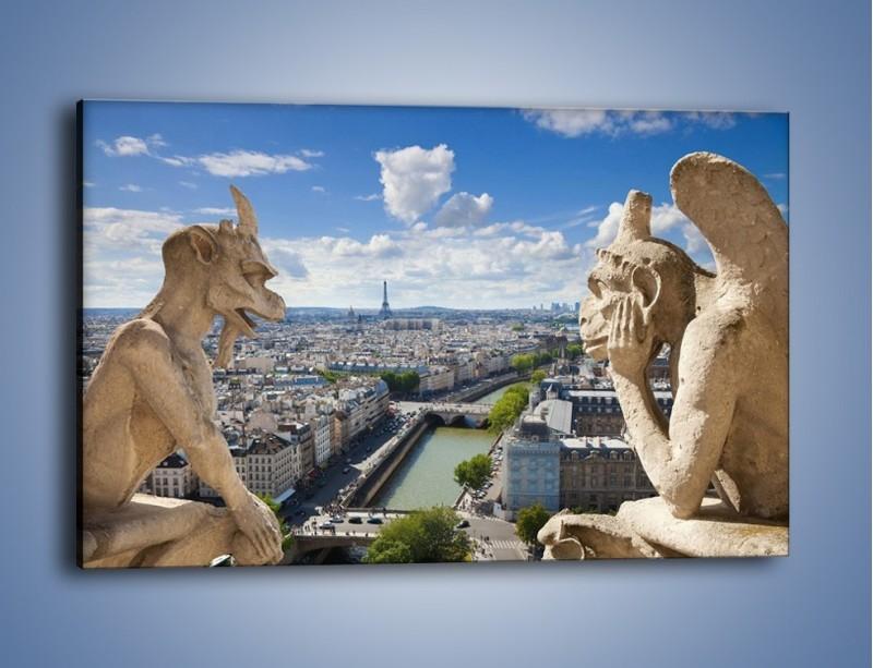 Obraz na płótnie – Kamienne gargulce nad Paryżem – jednoczęściowy prostokątny poziomy AM037