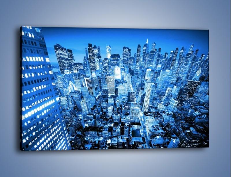Obraz na płótnie – Centrum miasta w niebieskich kolorach – jednoczęściowy prostokątny poziomy AM042