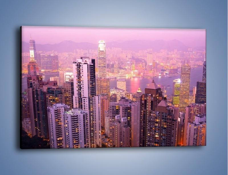 Obraz na płótnie – Duże miasto budzące się o poranku do życia – jednoczęściowy prostokątny poziomy AM062