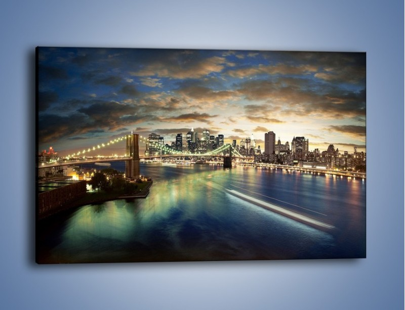 Obraz na płótnie – Oświetlony most w Nowym Jorku – jednoczęściowy prostokątny poziomy AM066