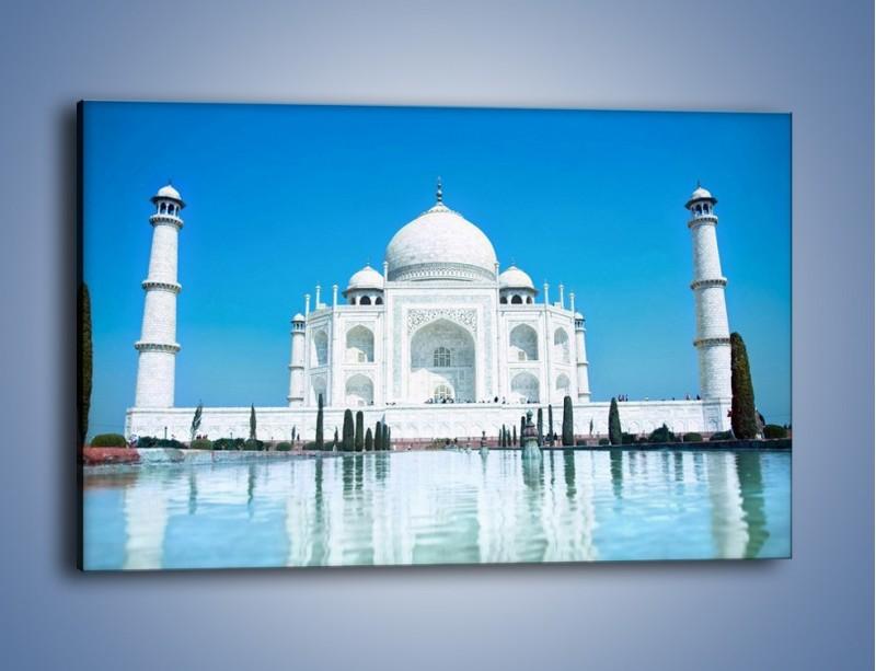 Obraz na płótnie – Taj Mahal pod błękitnym niebem – jednoczęściowy prostokątny poziomy AM077