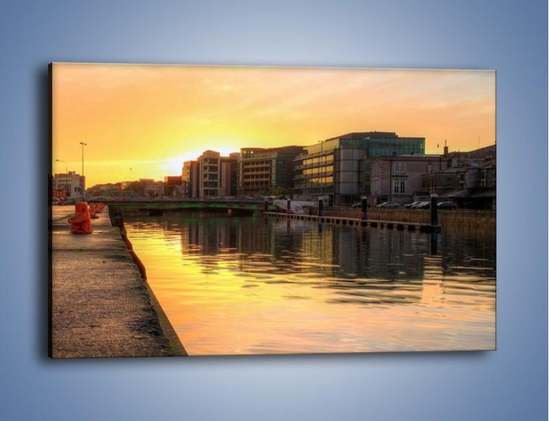 Obraz na płótnie – Kanał portowy o wschodzie słońca – jednoczęściowy prostokątny poziomy AM079