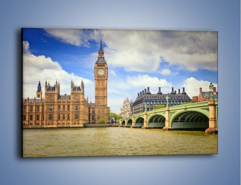 Obraz na płótnie – Big Ben w pochmurny dzień – jednoczęściowy prostokątny poziomy AM095
