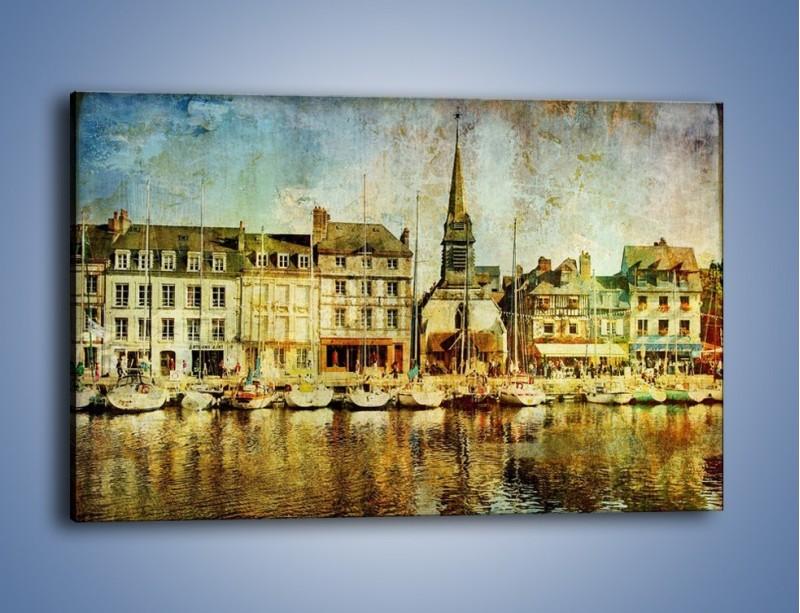 Obraz na płótnie – Łódki nad brzegiem miasteczka w stylu vintage – jednoczęściowy prostokątny poziomy AM108