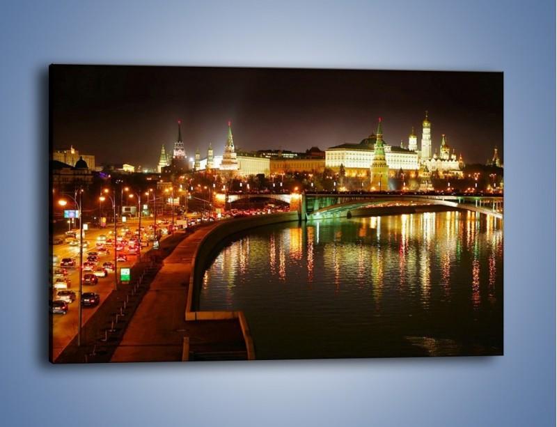 Obraz na płótnie – Moskwa nocą – jednoczęściowy prostokątny poziomy AM118