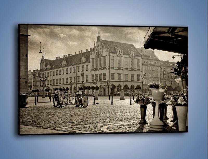 Obraz na płótnie – Rynek Starego Miasta w stylu vintage – jednoczęściowy prostokątny poziomy AM138
