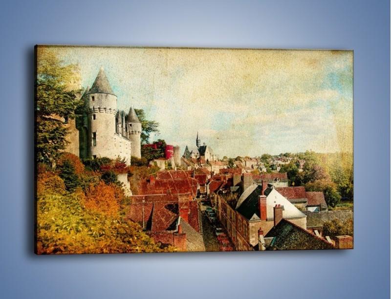 Obraz na płótnie – Zamek nad miasteczkiem w stylu vintage – jednoczęściowy prostokątny poziomy AM142