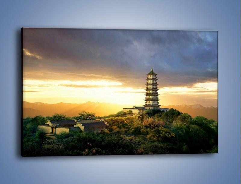 Obraz na płótnie – Azjatycka architektura o poranku – jednoczęściowy prostokątny poziomy AM151