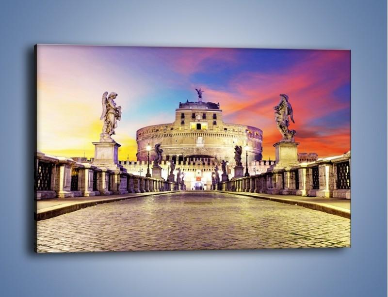 Obraz na płótnie – Zamek św. Anioła na tle kolorowego nieba – jednoczęściowy prostokątny poziomy AM156