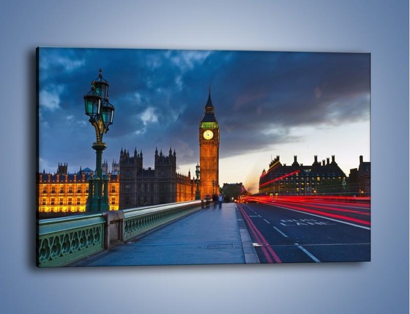 Obraz na płótnie – Big Ben świetle lamp – jednoczęściowy prostokątny poziomy AM166
