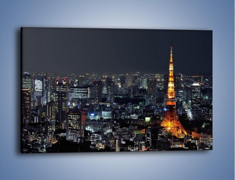 Obraz na płótnie – Rozświetlona Wieża Eiffla nocą – jednoczęściowy prostokątny poziomy AM174