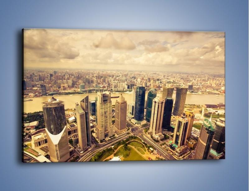 Obraz na płótnie – Miasto w pochmurny dzień – jednoczęściowy prostokątny poziomy AM178