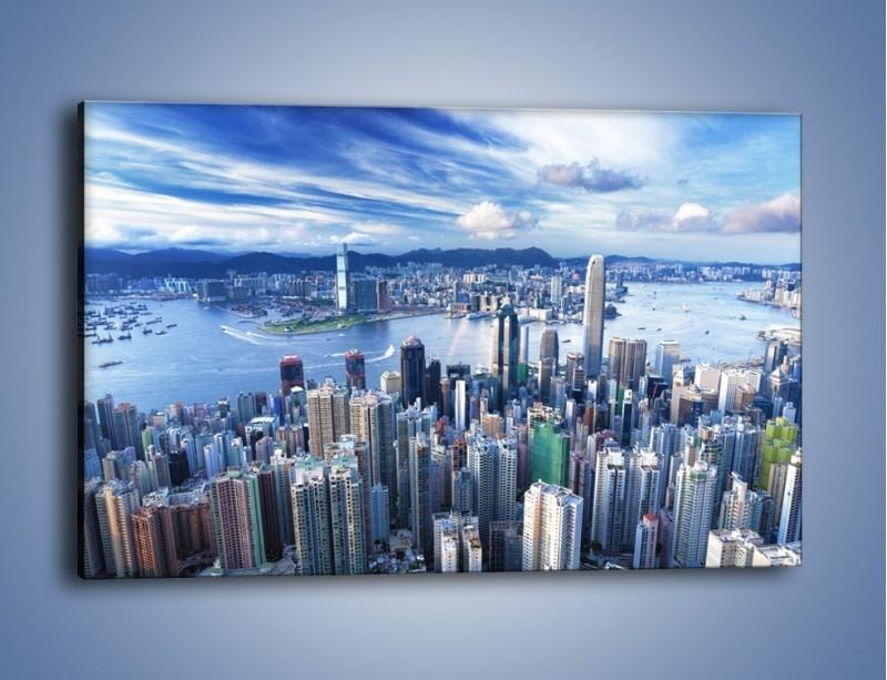 Obraz na płótnie – Miasto portowe pod błękitnym niebem – jednoczęściowy prostokątny poziomy AM187